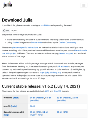 juliaのダウンロード
